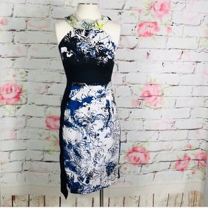 T tahari unique bold print tie neck sheath dress